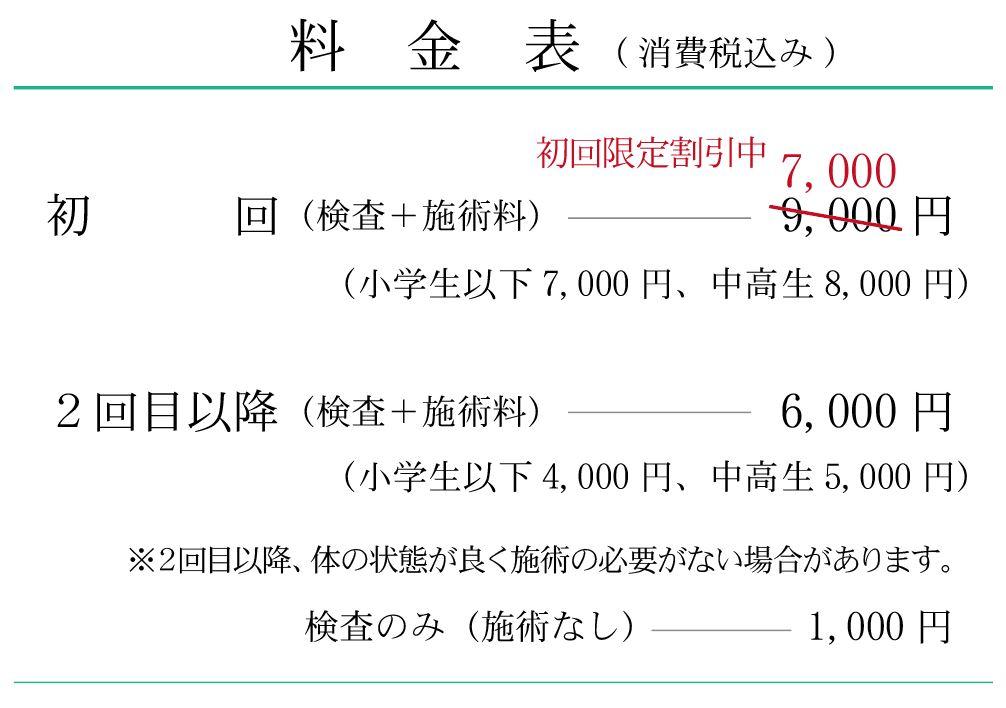 オフィスウチヤマ整体の料金表